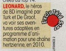 La BD Léonard en animation tv en 2010, Télé star.